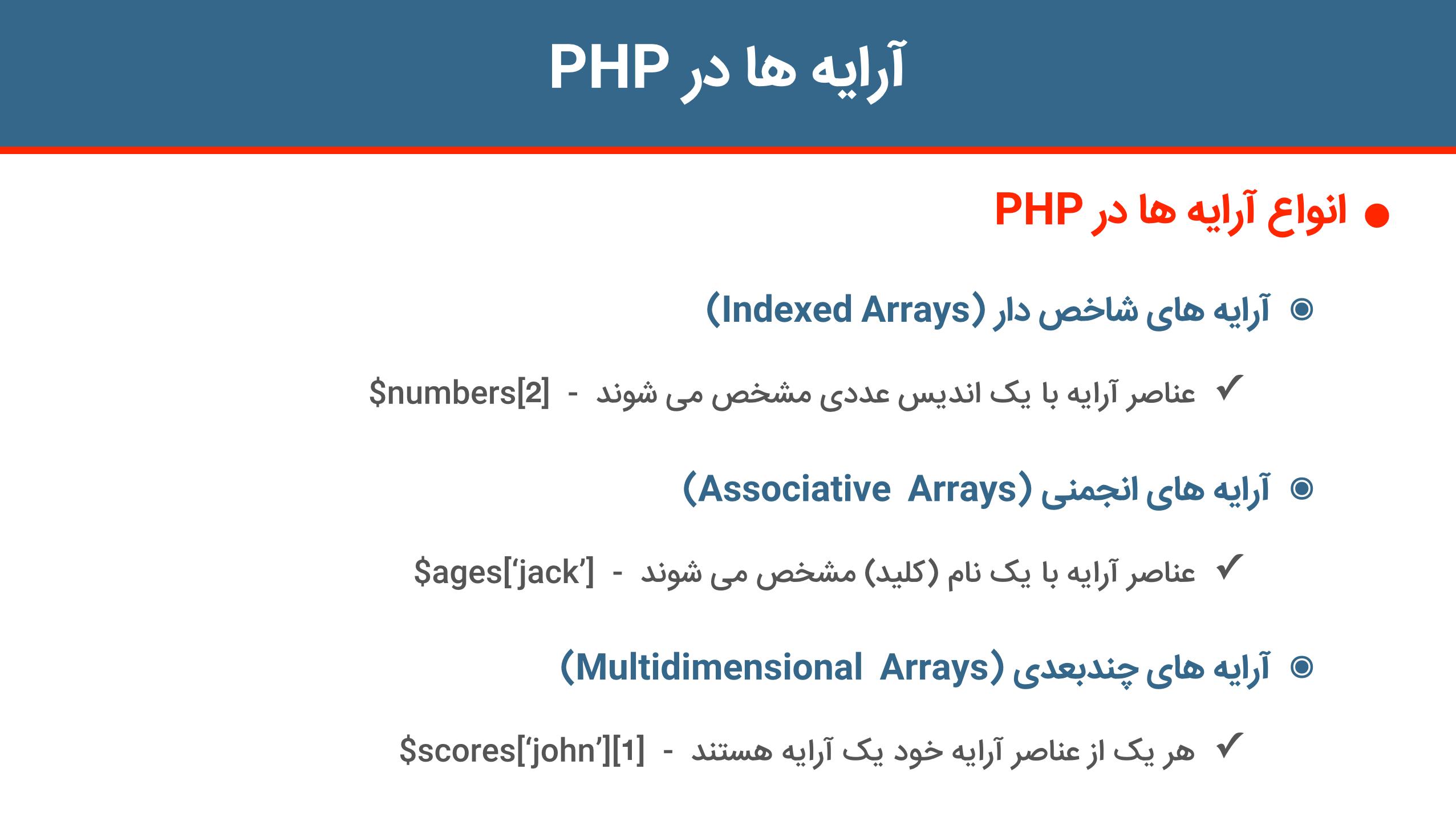 انواع آرایه ها در PHP | آرایه ها در PHP | آموزش برنامه نویسی به زبان PHP | حرفه ای و متفاوت بیاموزید